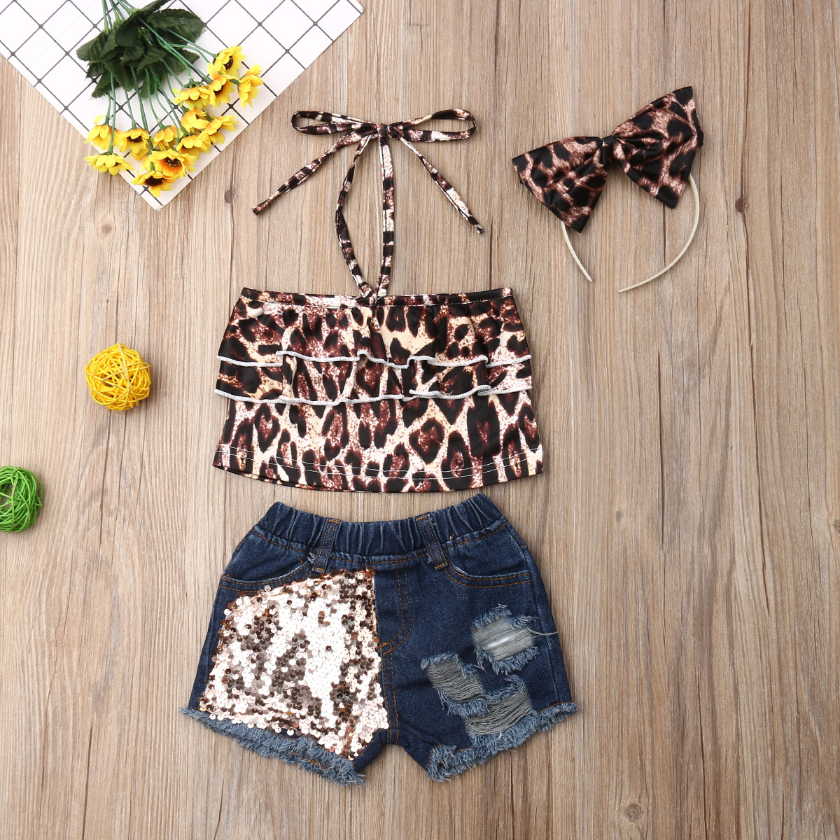 Pudcoco Toddler Baby Girl Clothes Leopard Print Strap Crop